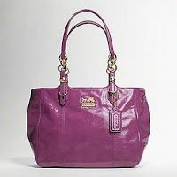 """jual tas asli coach 15738 Mia Patent Tote raspberry Crinkle patent leather  Inside zip, cellphone and multifunction pockets  Zip separator closure, fabric lining  Outside back slide pocket  Handles with 9 1/4"""" drop  12 1/2 (L) x 10 1/2 (H) x 5 (W)"""