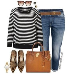 Weekend Inspiration - Plus Size Boyfriend Jeans and Stripes - Alexa Webb - I hope everyone is enjoying the weekend! I put together a really easy and casual outfit with some - Outfit Jeans, Boyfriend Jeans Outfit, Hijab Outfit, Jeans Dress, Pants, Look Plus Size, Plus Size Casual, Plus Size Outfits, Curvy Fashion