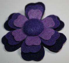 3 Shades of Purple Felt Flower Hair Clip