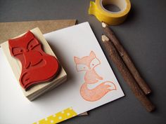 Sly Fox Rubber Stamp Handmade Woodland Stamp Wood by stampcouture, $13.00