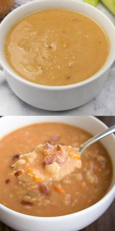 Italian Soup Recipes, Bean Soup Recipes, Chowder Recipes, Italian Bean Soup, Homemade Beans, Homemade Soup, Tasty Videos, Food Videos, Bean And Bacon Soup
