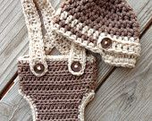 Suspenders Diaper Cover & Newsboy Hat in Cafe Latte Brown Beige Baby Boy newborn 0-3 3-6 6-12 mos photography prop two toned colors brown