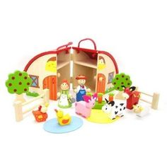 Kaper Kidz - Farm Playset with Carry House: The farm comes with a fully assembled farm shed (barn), 2 farmers, 6 typical farm animals, 2 fruit trees, fencing, a vegetable patch with three removable carrots and 2 felt 'environment patches' (1 straw 1 pond). #alltotstreasures #kaperkidz #farmplaysetwithcarryhouse #woodentoys #farm #farmset #farmanimals #barn