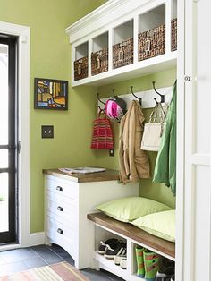 Mudroom Makeup-   A chest of drawers provides dual benefits: Its table surface gives you an immediate place to drop items, while the drawers below keep small odds and ends neatly contained. A bench encourages family members to remove their shoes before they track dirt into the house. Hooks keep coats and bags at the ready. If you have space, add cubbies up high to house baskets or bins. Assign each family member a container and use it store hats, gloves, scarves, and other small accessories