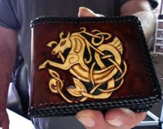 Wallet / Men / Leather / Nordic / Horse / Custom / Norse / Hand Carved and Tooled /Tribal / Mans Wallet / Celtic / Bi Fold / Hand Made  /Man