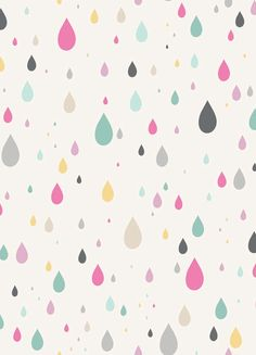 Anthology Fabrics, Raining Rainbows, Raindrops in White pinned with #Bazaart - www.bazaart.me
