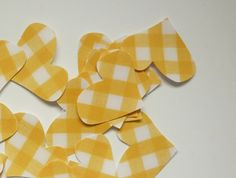 Yellow gingham heart punch-outs. Punch Out, Bunting, Doilies, Twine, Gingham, Rustic Wedding, Bridal Shower, Black And White, Yellow