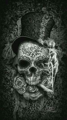 To match my girl sugar skull i have now! Digital Art Illustration, Skull Illustration, Datum Tattoo, Totenkopf Tattoos, Skull Artwork, Skull Drawings, Sugar Skull Art, Sugar Skulls, Skull Wallpaper