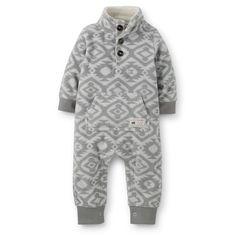 1-Piece Microfleece Jumpsuit | Carter's | Grey Aztec-patterned jumpsuit with button detail