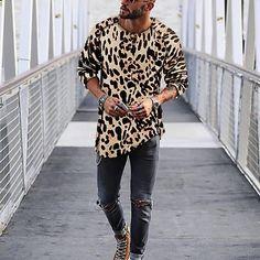 Men's Fasion Mens Leopard Print Casual Shirts Casual Shirts For Men, Men Casual, Casual Outfits, Vintage Summer Outfits, Leopard Outfits, Fasion, Men's Fashion, Fashion Outfits, Cool Shirts