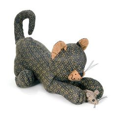 Tibby: Cat & Mouse Doorstop by Dora Designs Luxury Cushions, Gatos Cats, Bolster Cushions, Tapestry Bag, Cat Mouse, Here Kitty Kitty, Door Stop, Cat Pattern, Cat Design