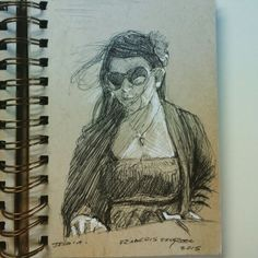 Wife sketch in ballpoint pen on toned paper moleskine by francois shogreen