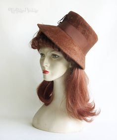 Vintage Original Retro 1950s/60s Chestnut Brown Plush Felt Demi Cloche Hat by UpStagedVintage on Etsy
