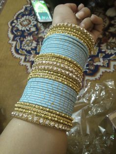 Overwhelming in number, but colour combination Bridal Bangles, Gold Bangles, Bridal Jewelry, Silk Thread Bangles, Thread Jewellery, Bangle Set, Bangle Bracelets, Necklaces, Chuda Bangles