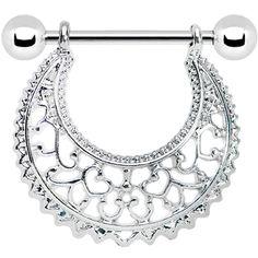 Silver Tone Artistic Swirls Nipple Shield #piercing #bodycandy #nipplering