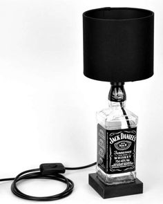 Valentines Day Present, Jack Daniels Upcycled Bottle Lamp, Mancave Present, Gift for Him, Gift for Her, Wedding Gift, Best Man Gift This 700ml Jack Daniels whiskey bottle has been professionally upcycled into a decorative table lamp. The desk or table lamp would be a great addition