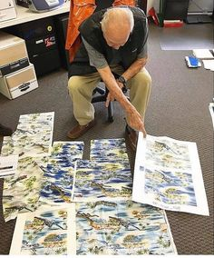 f925f8fa1a887 Walter Hoffman in his element choosing prints for his customer in Hawaii.  Happy day at. HawaiiHawaiian Islands