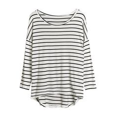 Striped Cotton Long-Sleeve Top ($29) ❤ liked on Polyvore featuring tops, t-shirts, shirts, long sleeves, white cotton t shirts, white shirt, stripe t shirt, long sleeve t shirt and white long sleeve t shirt