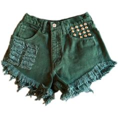 Vintage, cut off,  jeans,  shredded,  damaged,  fray,  grunge, omen eye, short, shorts, green, studded, $44.99