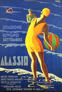 Travel - ALASSIO - Season June-September 1929 - F. Romoli - Travel Poster Vintage, Italian Gifts, Beach Decor, Seaside Prints, Advertising by TheRetroPoster on Etsy Old Poster, Retro Poster, Poster Vintage, Vintage Travel Posters, Vintage Advertisements, Vintage Ads, Vintage Swim, Vintage Italian Posters, Vintage Italy