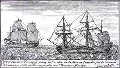 """""""Terreneuviers Français pour la Pesche de la Morüe fraiche sur le Banc de Terre-Neuve , et se la morüe Seiche au Chapeau Rouge"""", by Guéroult du Pas, 1698."""
