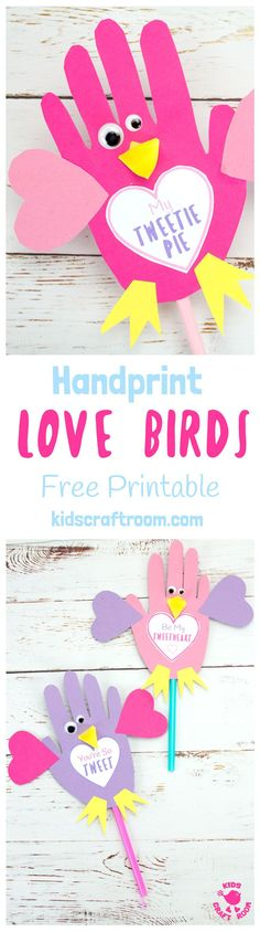 HANDPRINT LOVE BIRDS with Free Printable Template. Use them as puppets or greeting cards these Handprint Love Birds are the sweetest, or should I say tweetest little bird craft around and just perfect for Valentine's Day or Mother's Day. Too tweet for words! #handprintcrafts #valentine #valentines #valentinesday #valentinecrafts #valentinescrafts #birds #lovebirds #kidscrafts #valentinesforkids #kidscrafts101 #heart #craftsforkids #bird #handprint #preschool #preschoolcraft   via…