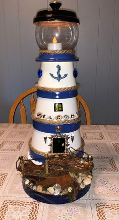 This is the lighthouse I made using clay pots. This is the lighthouse I made using clay pots. This is the lighthouse I made using clay pots. Lighthouse Gifts, Clay Pot Lighthouse, Lighthouse Decor, Clay Flower Pots, Flower Pot Crafts, Clay Pots, Clay Pot Projects, Clay Pot Crafts, Pots D'argile