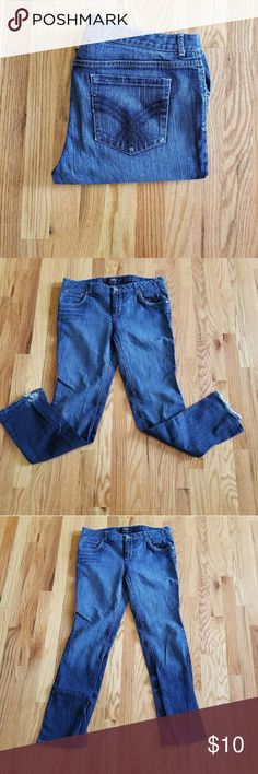 Merona jeans These jeans are worn. Usually I do not sell overly used product, but someone might benefit a great pair of jeans just from hemming the bottoms! Picture above shows the damage. Size 12 boot cut jeans priced to sell!!! Merona Jeans Boot Cut