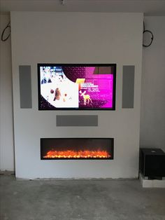 Earthy Living Room, Accent Walls In Living Room, Ottoman In Living Room, Living Room Color Schemes, Living Room Colors, Living Room Grey, Tv Above Fireplace, Home Fireplace, Blue Feature Wall