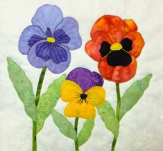 Sewing Block Quilts The pansy block includes 3 different pansies. Flower Applique Patterns, Hand Applique, Applique Templates, Quilt Patterns Free, Applique Quilts, Embroidery Applique, Embroidery Ideas, Embroidery Stitches, Free Pattern
