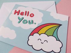 This greetings card featuring my own rainbow cloud illustration can cover a multitude of occasions. Send it to wish someone a happy birthday, as a thank you card, for positive sympathy or good luck, it can be a valentines or anniversary card, or it can just be some fun snail mail to send to a pen pal.  The Hello You card is postcard sized (A6), with a short edge fold, and comes with a white envelope. The kawaii card is blank inside for your own message.  The card will be shipped in…