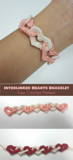 Interlinked Hearts Bracelet [Free Crochet Pattern] Interlocking Hearts Stitch, Linked Hearts Stitch