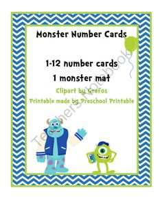 Monster Number Cards from Fun Printables for Preschoolers on TeachersNotebook.com (8 pages)