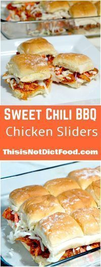 Sweet Chili BBQ Chicken Sliders. Mini chicken sandwiches topped with coleslaw. Easy weeknight dinner recipe. Party recipe.