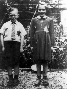 Harlingen, Netherlands, Two children wearing a Yellow Badge of Shame.  Jansje Pais and Benjamin Pais, shortly before they were deported in 1942. Both of them died in the same year in Auschwitz.