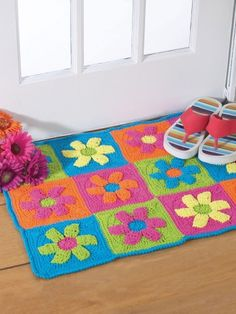 Flower Power Rug | Yarn | Free Knitting Patterns | Crochet Patterns | Yarnspirations