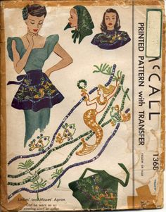 McCall 1368 ©1948 mermaid-embroidered apron that can also be worn as an evening scarf or collar