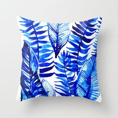 Jungle Leaves & Ferns in Blue Throw Pillow by lostmarketplace. Worldwide shipping available at Society6.com. Just one of millions of high quality products available.