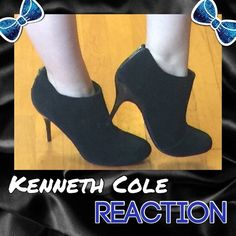 """Kenneth Cole Reaction Black Suede Booties Soft and sexy black suede covers these Kenneth Cole booties. The heel on these measures 4 1/2"""". These are size 10 and run true to size. These were display shoes and have the slightest of scuffs on the heels but are otherwise in pristine new condition. Kenneth Cole Reaction Shoes Ankle Boots & Booties"""