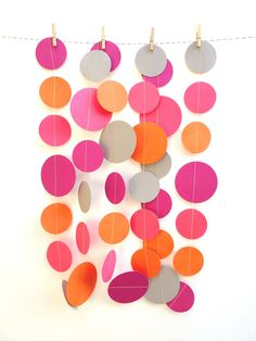Orange Pink and Gray Paper Garland. $9.00, via Etsy.