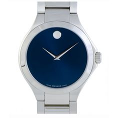 Movado 0607311 Mens Defio Blue Dial Stainless Steel Bracelet Watch - Movado Watch - Ideas of Movado Watch Contemporary Jewellery, Modern Jewelry, Stainless Steel Watch, Stainless Steel Bracelet, Bangle Bracelets, Bracelet Watch, Necklace Box, Watch Sale, Quartz Watch