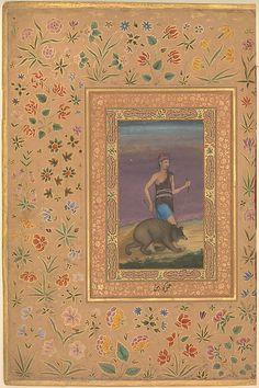 """""""Dervish Leading a Bear"""", Folio from the Shah Jahan Album Painting by Govardhan (active ca. 1596–1645) Calligrapher: Mir 'Ali Haravi (d. ca. 1550) Object Name: Album leaf Date: recto: ca. 1630–40; verso: ca. 1530–40 Geography: India Culture: Islamic"""