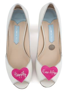 Andrea shoes with pink hearts by Charlotte Mills. Seriously cool weddings shoes…