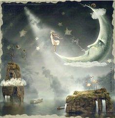 Cresent moon. Fantasy art. SJF