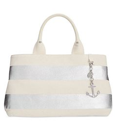 Tommy Hilfiger Jolene Metallic Rugby Stripe Shopper Tote - Handbags & Accessories - Macy's