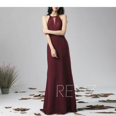 Bridesmaid Dress Fitted Evening Dress Burgundy Chiffon Dress Wedding Dress Halter Neck Maxi Dress Illusion Lace Sleeveless Party Dress(L418) Halter Neck Maxi Dress, Sequin Dress, Chiffon Dress, Strapless Dress, Dress Lace, Wine Bridesmaid Dresses, Wedding Dresses, Bridesmaids, Evening Dresses