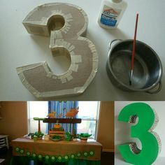DIY cardboard number 3. Lion King themed birthday party. Animal print ductape. Table decoration.