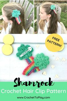 Make a cute shamrock and rainbow hair clip for St. Patrick's Day with this free crochet pattern! You'll learn how to crochet the four leaf clover and rainbow too. Crochet Hair Clips, Crochet Hair Styles, Crochet Bows Free Pattern, Free Crochet, Left Handed Crochet, Crochet Hair Accessories, Leaf Clover, Rainbow Hair, Learn To Crochet