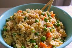 Mock Fried Rice made with cauliflower. Much quicker & healthier than cooking rice!