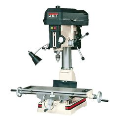 Mill drills are a lighter alternative to a milling machine. These combine a belt driven drill press with the dual coordinate abilities of the milling machine's table for flexibility and efficiency. A…MoreMore Rockler Woodworking, Woodworking Shop, Woodworking Ideas, Jet Tools, Work Lamp, Drilling Machine, Drill Press, Machine Tools, Cnc Machine